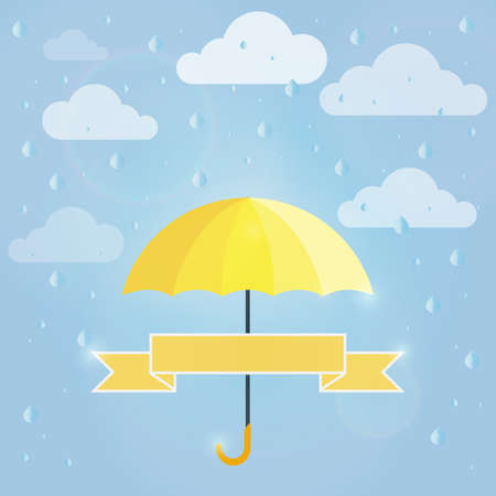 solar flare: Umbrella and ribbon for your text in the summer rain. Vector illustration grouped for easy editing. Illustration