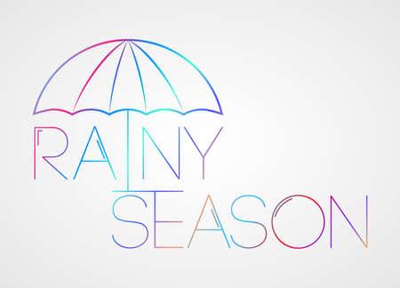 season: Conceptual umbrella logo. Vector. Caption: rainy season.