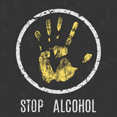 waive: Vector conceptual illustration in grunge style. Stop alcohol sign.