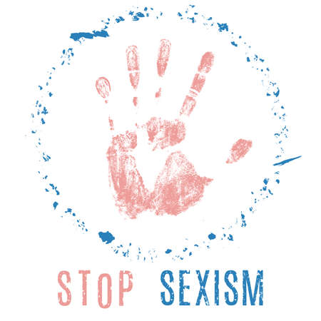 sex discrimination: Vector social conceptual illustration in grunge style. Stop sexism sign isolated on white background