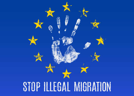 illegal: Vector conceptual illustration - Poster Stop illegal migration in EU