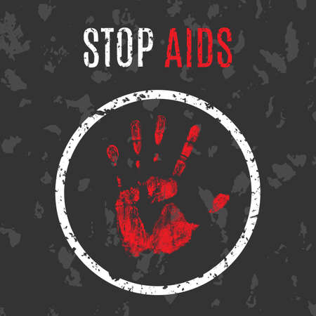 aids virus: Vector conceptual illustration - Poster stop the spread of AIDS