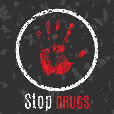 heroin: Vector conceptual illustration in grunge style. Palm symbol to stop the spread of drugs