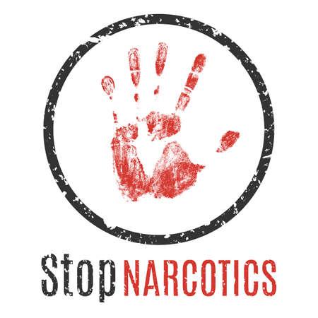 передозировка: Vector illustration. Warning sign handprint. Stop the spread of drugs.