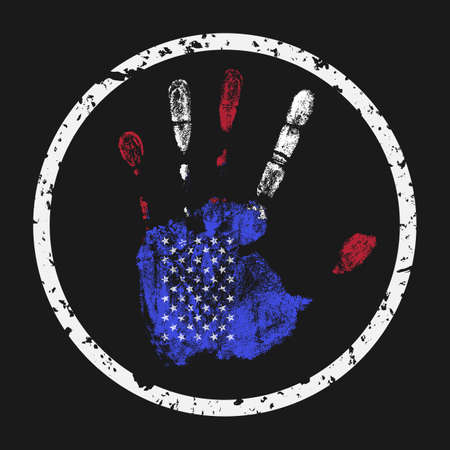 Creative vector illustration. The imprint of a human hand in the colors of the USA flag.