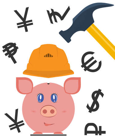 reliability: Pig piggy bank is protected by a helmet, and currency symbols. The concept of protection of financial assets, insurance savings, reliability deposits. Vector illustration isolated on white.