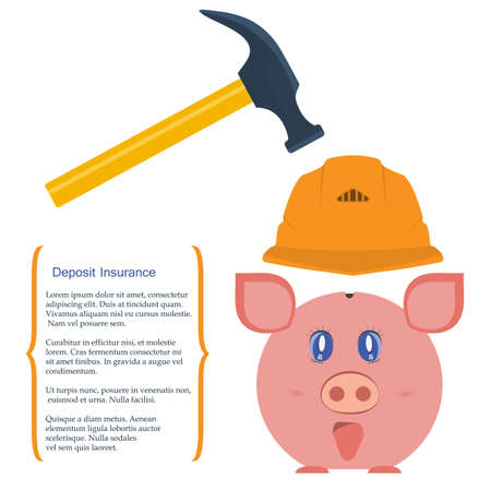 diversification: Vector illustration. Pig piggy bank in a helmet is protected from breaking hammer. The concept is the protection of Finance, the preservation of savings and deposits, diversification of business risks.