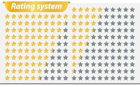 rating: The star rating system. Vector illustration of a rating system of 0 to 10.
