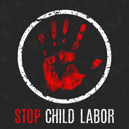stop signs: Vector conceptual illustration - Poster stop child labor Illustration