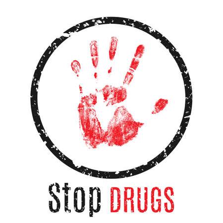 Vector illustratie. Waarschuwingsbord handafdruk. Stop met drugs.