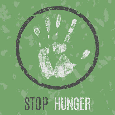 starvation: Vector conceptual illustration in grunge style. Stop hunger sign