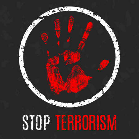crime: Vector handprint with inscription Stop terrorism