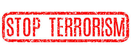 red grunge vector inscription stop terrorism