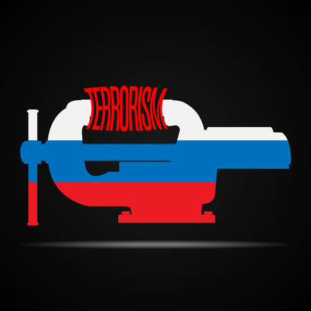vices: Vices in the colors of Russian flag crush the word terrorism.