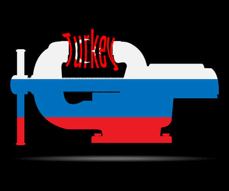 ultimatum: Clamp in the colors of the Russian flag destroys the word Turkey. Vector illustration.