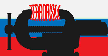 coalition: Vice crush the word terrorism in the background of the flag of Russia. Vector illustration.