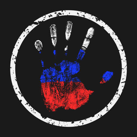 imprint: Creative vector illustration. The imprint of a human hand in the colors of the Russian Flag.