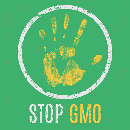 genetically modified crops: Vector illustration - stop the spread of the GMO Illustration