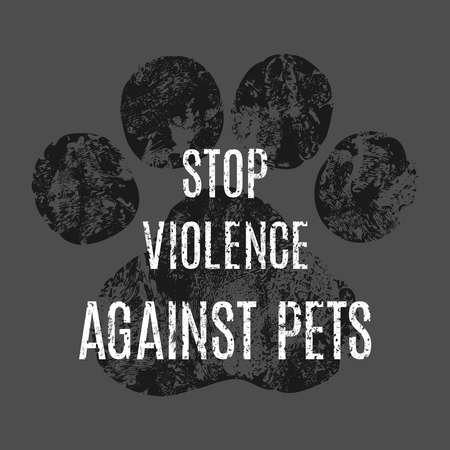 animal abuse: Animal paw print. Stop violence against pets. Vector illustration.