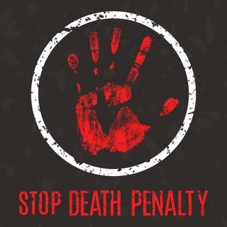 muerte: ilustraci�n conceptual del vector en estilo grunge. No a la pena de muerte