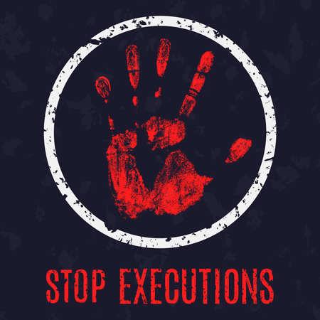 capital punishment: Vector conceptual illustration - Poster stop execution Illustration