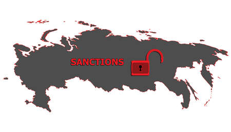 Vector illustration. Silhouette of a map of Russia. Caption sanctions and open the lock. It symbolizes lifting of sanctions. Isolated on white background.