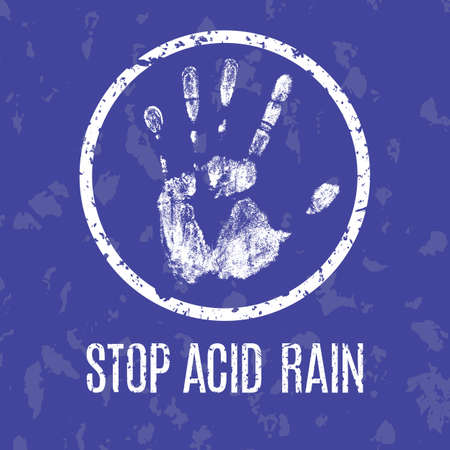 kwaśne deszcze: Conceptual vector illustration. Global problems of humanity. Stop acid rain
