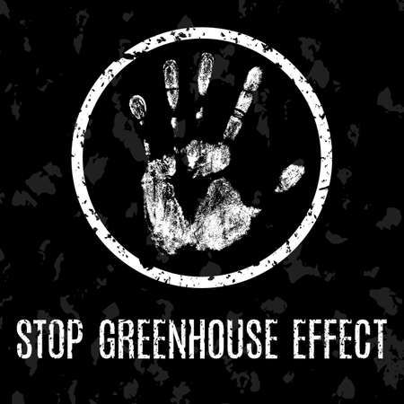 eco notice: Conceptual vector illustration. Global problems of humanity. Stop greenhouse effect.