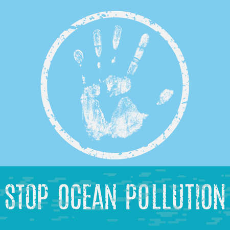 stop pollution: Conceptual vector illustration. Global problems of humanity. Stop the pollution of the oceans.