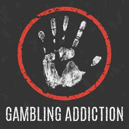 humanity: Conceptual vector illustration. Global problems of humanity.  gambling addiction