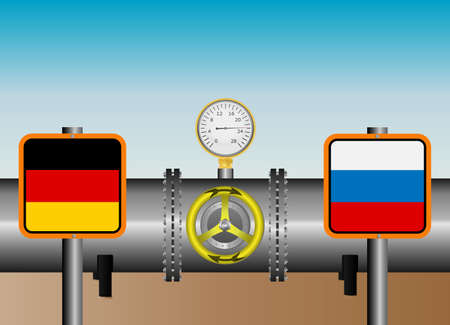gas pipeline: Vector illustration. The main gas pipeline Russia - Germany