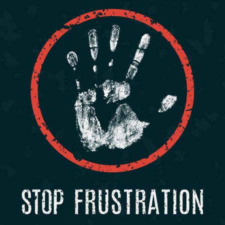 irritation: Conceptual vector illustration. Global problems of humanity. psychological distress -  stop frustration