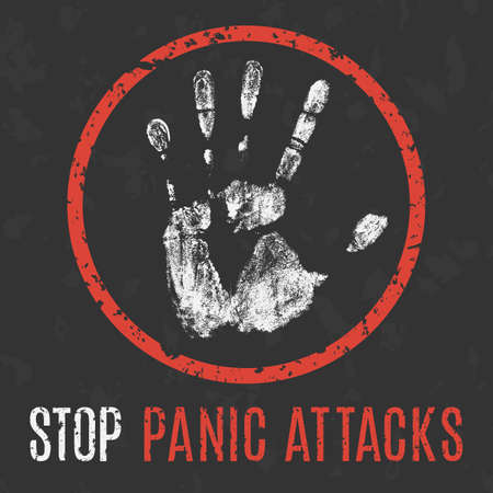 hysterical: Conceptual vector illustration. problems of humanity. stop panic attacks