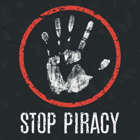 Conceptuel illustration vectorielle. Les problèmes mondiaux de l'humanité. Arrêtez la piraterie