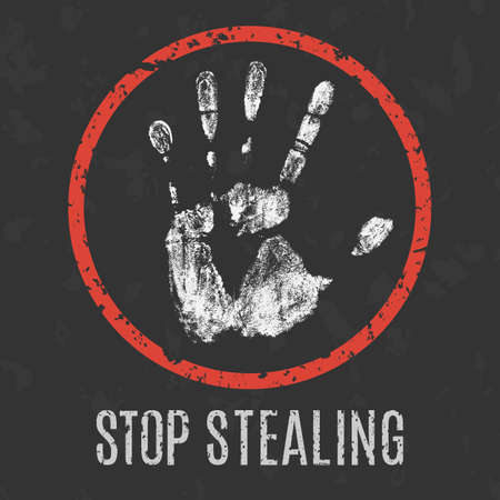 stealing: Conceptual vector illustration. Global problems of humanity.  stop stealing Illustration