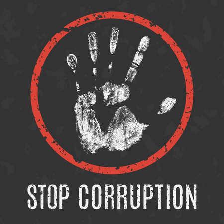 Conceptuele vector illustratie. Mondiale problemen van de mensheid. stoppen corruptie sign