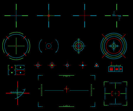 Set of vector elements. Icons crosshairs. Neon sight. View target