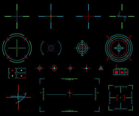 Set van vector elementen. Pictogrammen crosshairs. Neon zicht. Bekijk doel Stock Illustratie