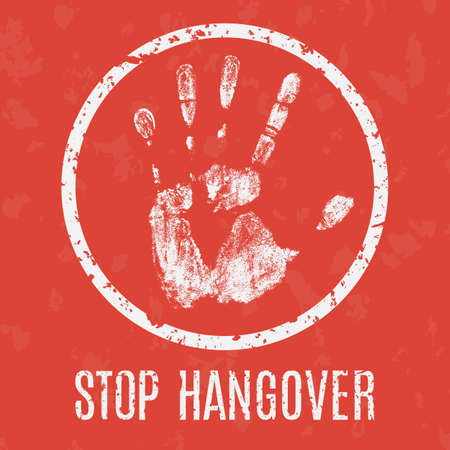 waive: Conceptual vector illustration. Problems of humanity. Stop hangover sign