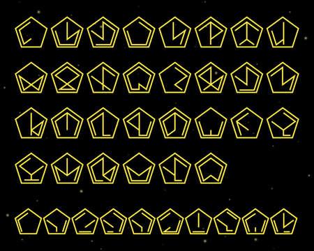Futuristic unreadable alphabet. Alien font. Vector   template. Illustration