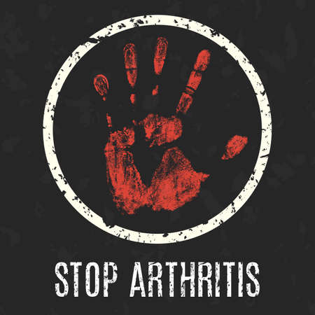neuralgia: Conceptual vector illustration. Human diseases. Stop arthritis. Illustration