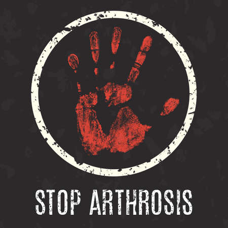 neuralgia: Conceptual vector illustration. Global problems of humanity. Stop arthrosis sign.