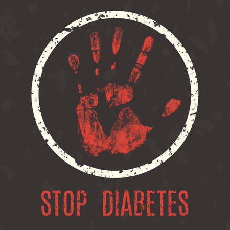 phosphate: Conceptual vector illustration. Human diseases. Stop diabetes.