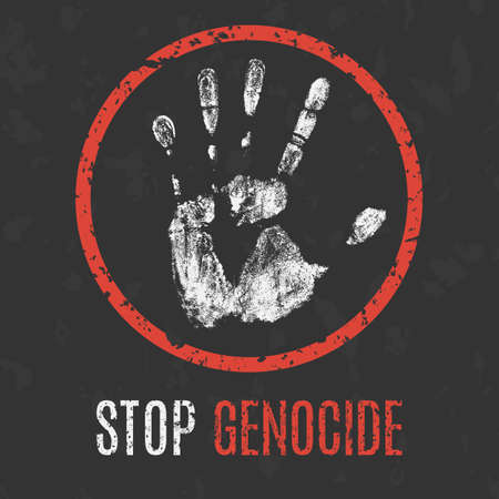 holocaust: Conceptual vector illustration. Global problems of humanity. Stop genocide sign.