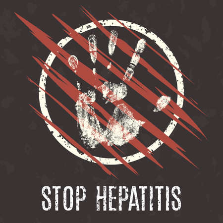 contagious: Conceptual vector illustration. Global problems of humanity. Stop Hepatitis.
