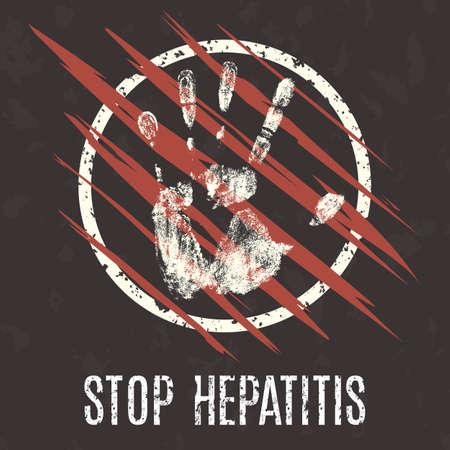 jaundice: Conceptual vector illustration. Global problems of humanity. Stop Hepatitis.