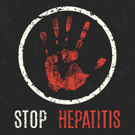 hepatitis vaccine: Conceptual vector illustration. Global problems of humanity. Stop Hepatitis.