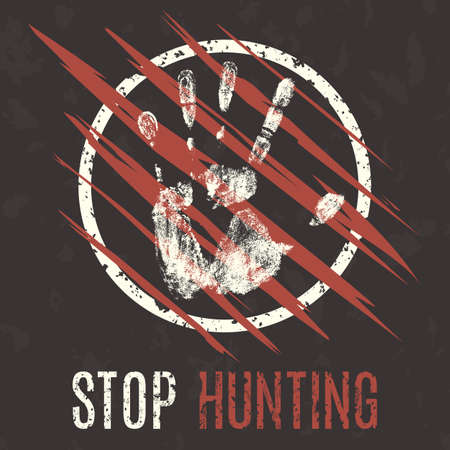 laceration: Conceptual vector illustration. Problems of humanity. Stop hunting.