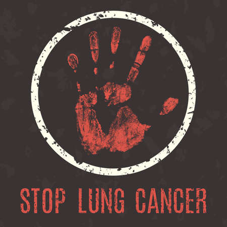 humanity: Conceptual vector illustration. Global problems of humanity. Stop lung cancer sign.