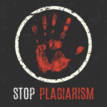 plagiarism: Conceptual vector illustration. Global problems of humanity. Stop plagiarism.